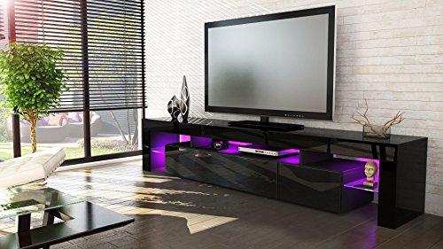 tv board lowboard lima v2 korpus in schwarz front in schwarz hochglanz skandinavische m bel. Black Bedroom Furniture Sets. Home Design Ideas