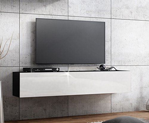 tv lowboard h ngeboard hochglanz board schrank tisch 160cm korpus matt schwarz front wei. Black Bedroom Furniture Sets. Home Design Ideas