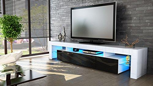 tv board lowboard lima v2 in wei schwarz hochglanz skandinavische m bel. Black Bedroom Furniture Sets. Home Design Ideas