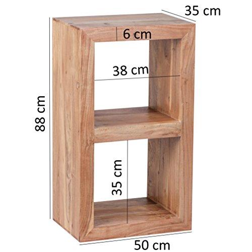 wohnling standregal massivholz akazie 88 cm hoch 2 b den design holz regal naturprodukt. Black Bedroom Furniture Sets. Home Design Ideas