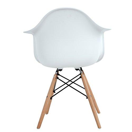 2 x esszimmerst hle mit armlehne ajie retro designerstuhl mit lehne 4 holz beinen design. Black Bedroom Furniture Sets. Home Design Ideas