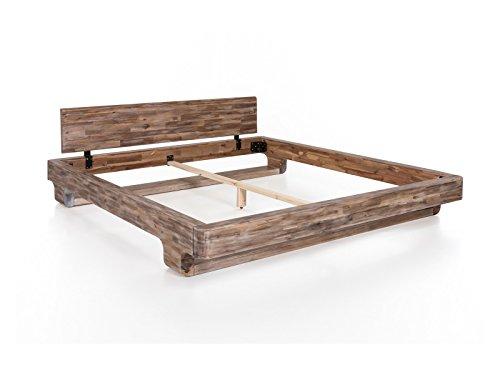 woodkings bett 180 200 mayfield mit matratze und lattenrost doppelbett akazie rustic. Black Bedroom Furniture Sets. Home Design Ideas