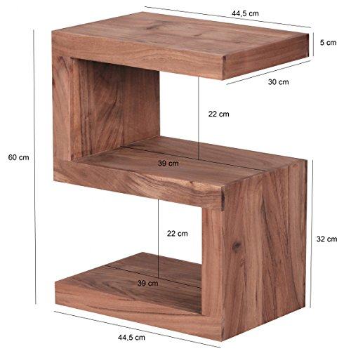 wohnling beistelltisch massiv holz akazie 60 cm wohnzimmer. Black Bedroom Furniture Sets. Home Design Ideas