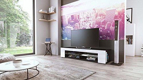 tv board lowboard movie korpus in schwarz matt fronten in wei hochglanz 2 skandinavische m bel. Black Bedroom Furniture Sets. Home Design Ideas