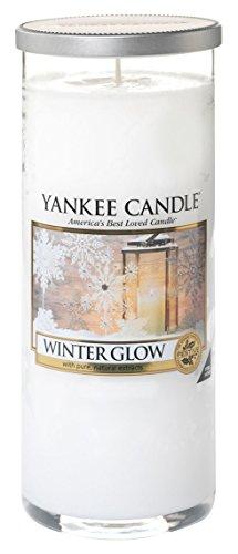 Yankee Candle 1342543E Decor L Pillar Winter Glow Duftkerze, Glas, Weiß, 8.3 x 8.3 x 19.2 cm