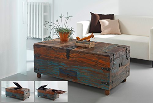 salesfever holz truhe couchtisch holztisch aus hochwertigem recyceltem holz 110 x 60 x 45 cm. Black Bedroom Furniture Sets. Home Design Ideas