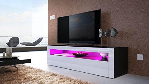tv board lowboard valencia korpus in schwarz matt front in wei hochglanz mit rahmen in wei. Black Bedroom Furniture Sets. Home Design Ideas