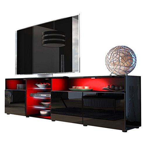 tv board lowboard granada v2 korpus in schwarz front in. Black Bedroom Furniture Sets. Home Design Ideas