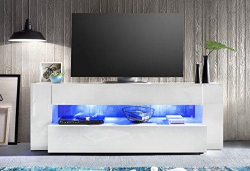 trendteam oyx32001 lowboard xxl tv m bel wei hochglanz bxhxt 185x65x40 cm skandinavische m bel. Black Bedroom Furniture Sets. Home Design Ideas