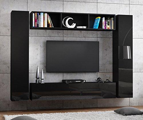 tv lowboard h ngeboard hochglanz board schrank tisch 160cm korpus matt schwarz front schwarz. Black Bedroom Furniture Sets. Home Design Ideas