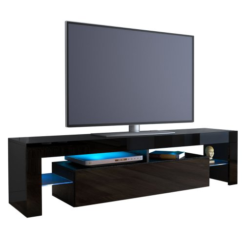 tv board lowboard lima korpus in schwarz front in schwarz hochglanz skandinavische m bel. Black Bedroom Furniture Sets. Home Design Ideas