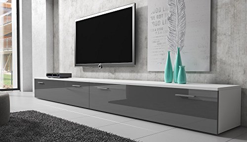 tv m bel lowboard schrank st nder boston korpus wei front grau hochglanz 300 cm. Black Bedroom Furniture Sets. Home Design Ideas