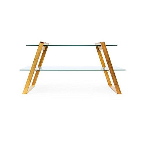 Relaxdays Couchtisch MUKAI groß HxBxT: 65x130x46 cm praktischer Glastisch aus Glas und Holz mit 2 Ebenen zur Aufbewahrung von Zeitschriften etc. als Beistelltisch mit Standbeinen aus Bambus, natur