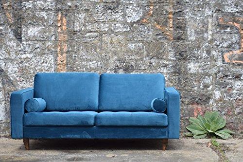 Sofa Venice Vintage Samt Blau 2 Sitzer 190
