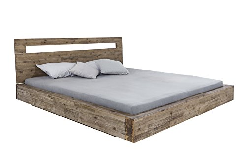 woodkings bett marton 180 200 inkl matratze und lattenrost doppelbett akazie rustic. Black Bedroom Furniture Sets. Home Design Ideas