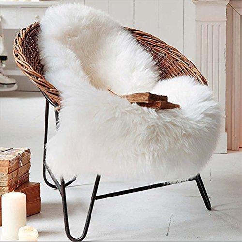 Lammfellimitat Teppich Longhair Fell Optik Nachahmung Wolle Bettvorleger Sofa Matte Faux Lammfell Schaffell Teppich (60 x 90 cm) (Weiß)
