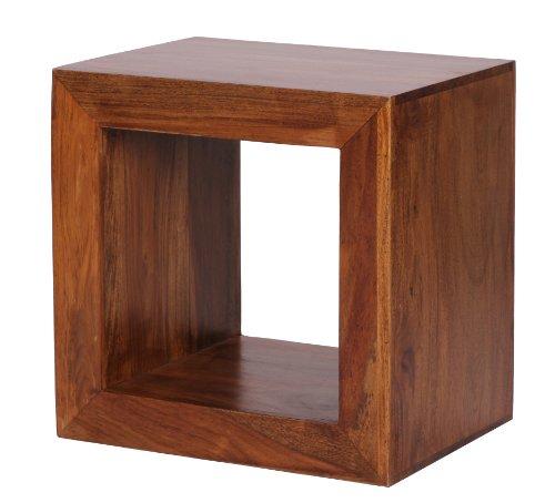 Wohnling standregal massivholz sheesham 44cm hoch cube for Couchtisch viereckig