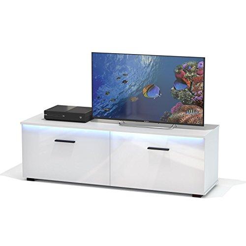 tv lowboard fernsehbank fernsehschrank malibu in wei hochglanz mit led beleuchtung 138 cm breit. Black Bedroom Furniture Sets. Home Design Ideas