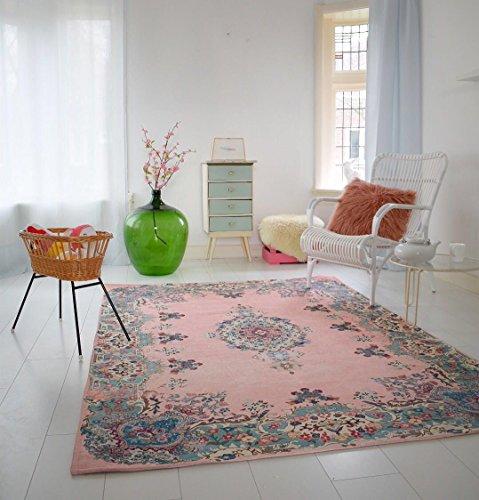 pastell vintage teppich im angesagten shabby chic look f r wohnzimmer schlafzimmer flur. Black Bedroom Furniture Sets. Home Design Ideas