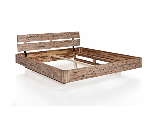 woodkings bett 180 200 hampden inkl matratze und lattenrost doppelbett akazie wei geb rstet. Black Bedroom Furniture Sets. Home Design Ideas