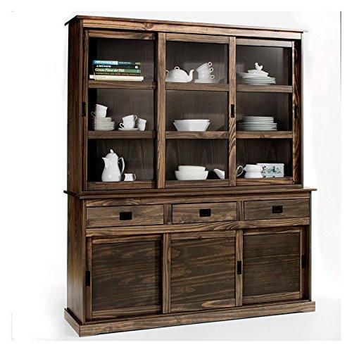 vitrine savona anrichte mit aufsatz buffet sideboard kolonialstil kieferkommode 3 t ren grau. Black Bedroom Furniture Sets. Home Design Ideas