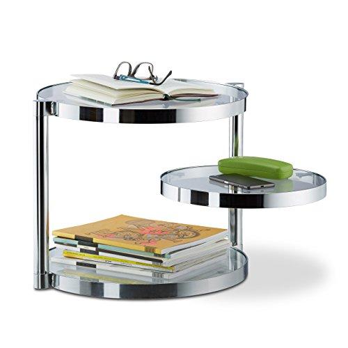relaxdays couchtisch aus glas mit schwenkbarer ablage 3 runde platten beistelltisch hxbxt ca. Black Bedroom Furniture Sets. Home Design Ideas