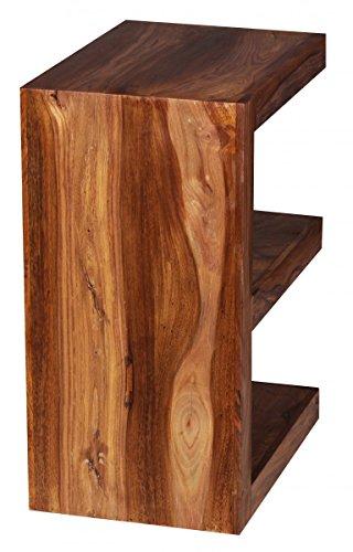 """FineBuy Beistelltisch Massivholz Sheesham """"E"""" Cube 60 cm Wohnzimmer-Tisch Design braun Landhaus-Stil Couchtisch Natur-Produkt Standregal Unikat Zeitungshalter Massivholzmöbel Echtholz Anstelltisch"""