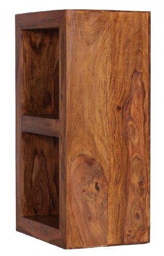FineBuy Standregal Massivholz Sheesham 88 cm hoch 2 Böden Design Holz-Regal Naturprodukt Beistelltisch Landhaus-Stil dunkel-braun Wohnzimmer-Möbel Unikat Echtholz Couchtisch viereckig Anstelltisch