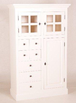 Casa Padrino Shabby Chic Landhaus Stil Schrank Buffetschrank Weiß mit vielen Schubladen - Schrank Esszimmer