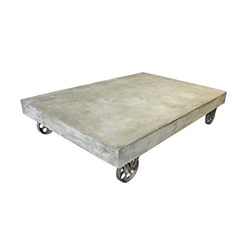salesfever leichtbeton tisch couchtisch mit rollen platte aus leichtbeton metallrollen. Black Bedroom Furniture Sets. Home Design Ideas