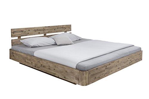 woodkings bett 180x200 hampden inkl matratze und lattenrost doppelbett akazie wei geb rstet. Black Bedroom Furniture Sets. Home Design Ideas