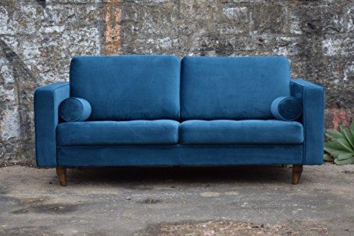sofa venice vintage samt blau 3 sitzer 230. Black Bedroom Furniture Sets. Home Design Ideas