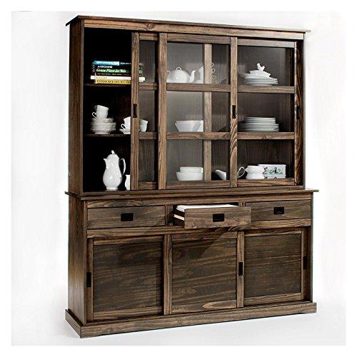 vitrine savona anrichte mit aufsatz buffet sideboard kolonialstil kieferkommode 3 t ren grau 1. Black Bedroom Furniture Sets. Home Design Ideas
