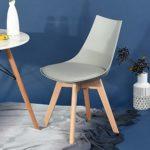 Ajie 4er Set Retro Designer Stuhl Esszimmerstühle Wohnzimmerstühl mit bequem Gepolstertem Sitz,Grau