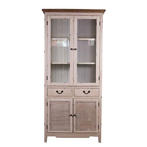 vitrinenschrank linde landhaus stil holz vitrine vintage look creme wei 1 skandinavische m bel. Black Bedroom Furniture Sets. Home Design Ideas