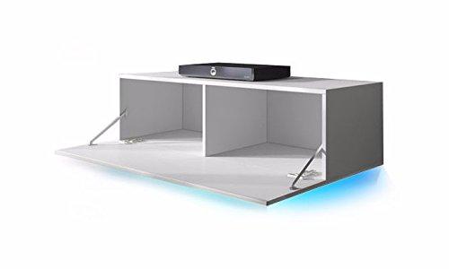 tv schrank lowboard h ngeboard simple mit led blau schwarz matt schwarz hochglanz 100 cm. Black Bedroom Furniture Sets. Home Design Ideas