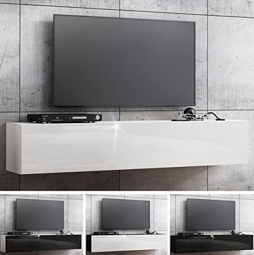 tv lowboard h ngeboard hochglanz board schrank tisch 160cm korpus matt schwarz front schwarz. Black Bedroom Furniture Sets. Home Design Ideas