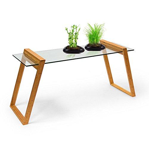 relaxdays couchtisch mukai standard hxbxt 65x130x46 cm praktischer glastisch aus glas und holz. Black Bedroom Furniture Sets. Home Design Ideas