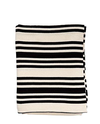 Bloomingville - Decke / Kuscheldecke - Baumwolle - schwarz / weiß gestreift - L170xW130 cm