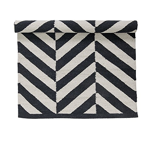 bloomingville teppich day herring rug schwarz wei 90 60 cm fischgr ten muster. Black Bedroom Furniture Sets. Home Design Ideas