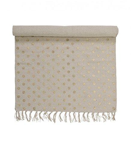 Bloomingville - Teppich / Läufer - sand mit goldenen Punkten - Baumwolle - 120 x 60 cm