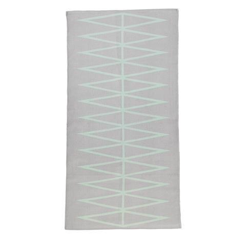 Bloomingville Teppich mit grafischem Muster, grau&mint 60x120cm