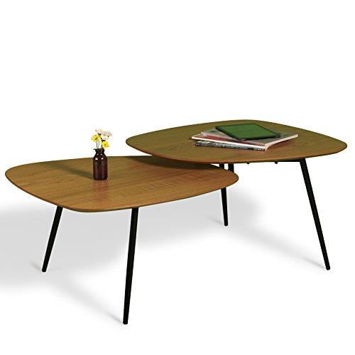 couchtisch eiche mit metallbeinen zwei ebenen industrial loft skandinavisch retro retrolook. Black Bedroom Furniture Sets. Home Design Ideas