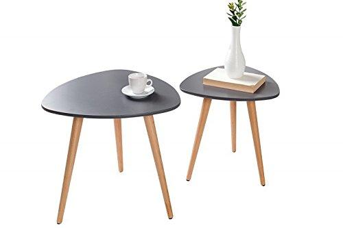 Dunord design beistelltisch couchtisch 2er set stockholm for Tisch retro design
