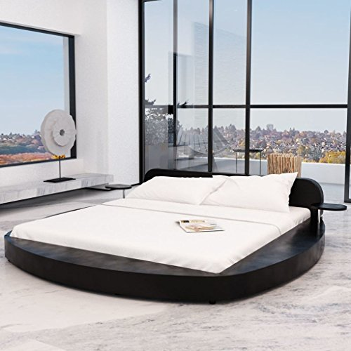 festnight polsterbett bett doppelbett ehebett aus kunstleder mit matratze 180x200cm rund schwarz. Black Bedroom Furniture Sets. Home Design Ideas
