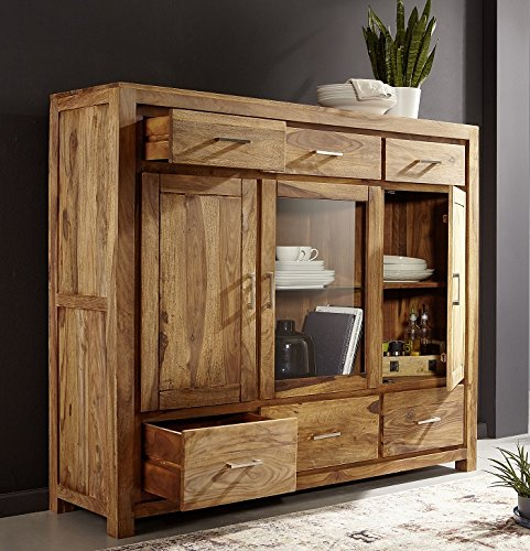 highboard schrank 168x142cm austin sheesham massiv holz skandinavische m bel. Black Bedroom Furniture Sets. Home Design Ideas