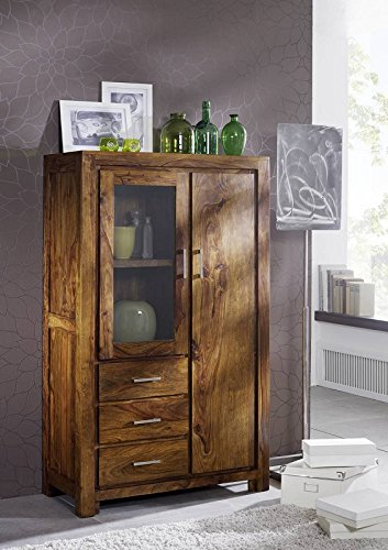 Massivmöbel Sheesham Holz massiv life honey Highboard Massivholz Palisander lackiert Möbel Metro Life #108