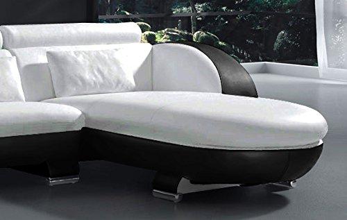 sam ecksofa vigo combi 1 242 x 181 cm wei wei schwarz rechts polsterecke wohnzimmer couch. Black Bedroom Furniture Sets. Home Design Ideas