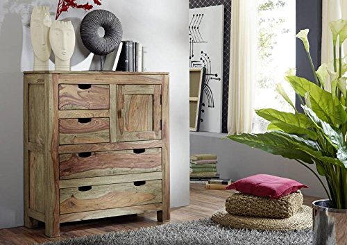 Sheesham Massivholz Highboard Palisander Möbel Holz massiv Nature Grey #87