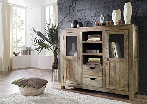 sheesham massivholz highboard palisander m bel massiv holz nature grey 63 skandinavische m bel. Black Bedroom Furniture Sets. Home Design Ideas